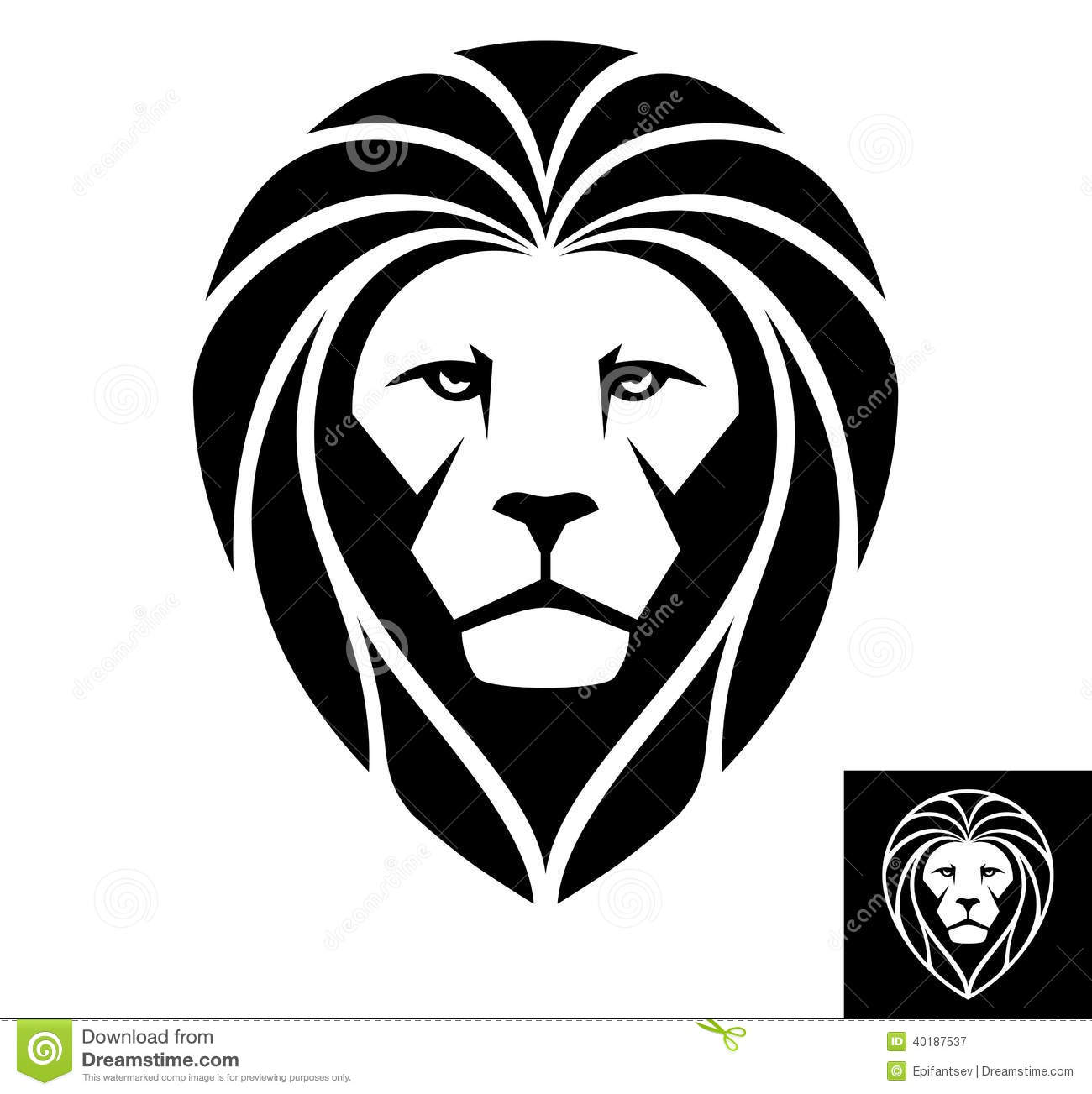 Black and White Lion Head Logo
