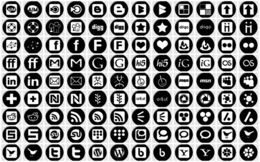 15 Black Social Network Icons Images
