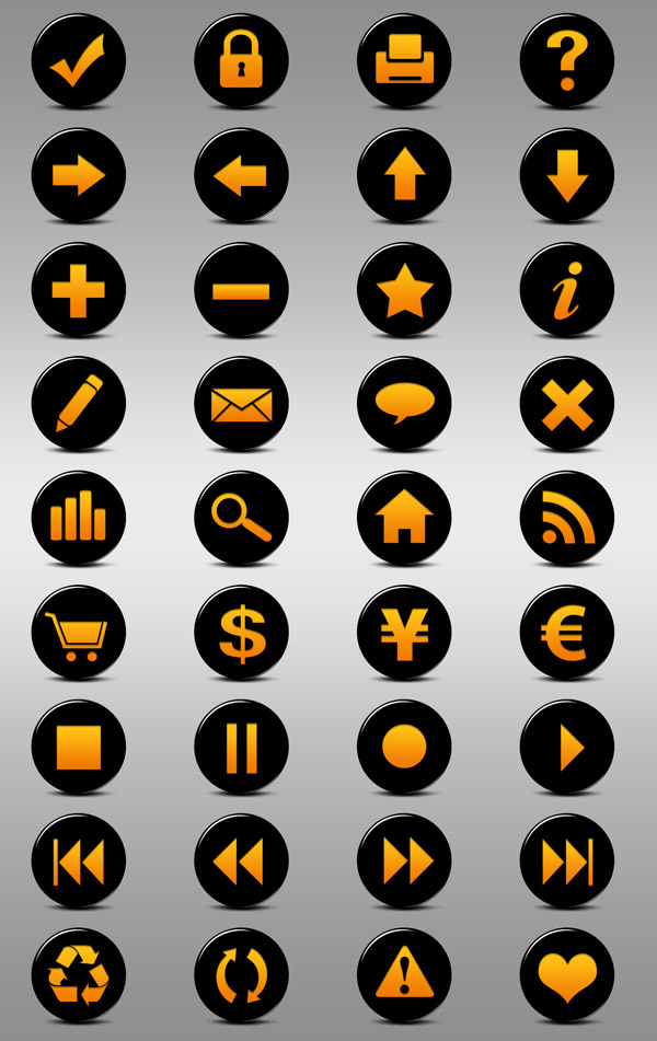 10 Black And Orange Icon Images