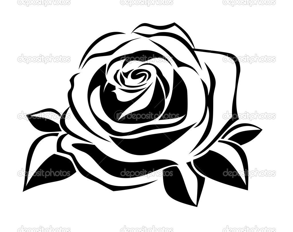13 Black Rose Silhouette Vector Images