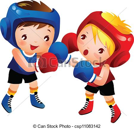 Boy and Girl Boxing Clip Art