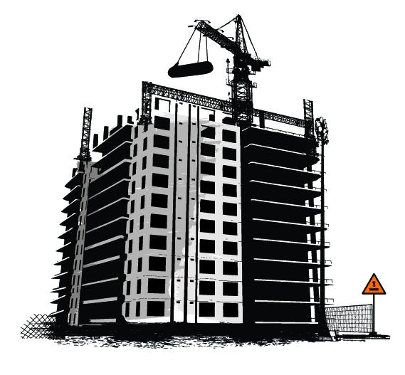 Building Construction Clip Art : Construction site vector images crane