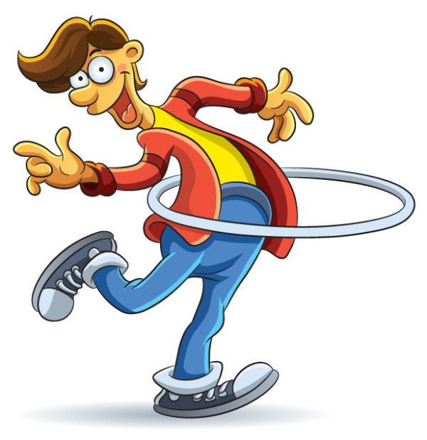 Cartoon Boy Hula Hoop