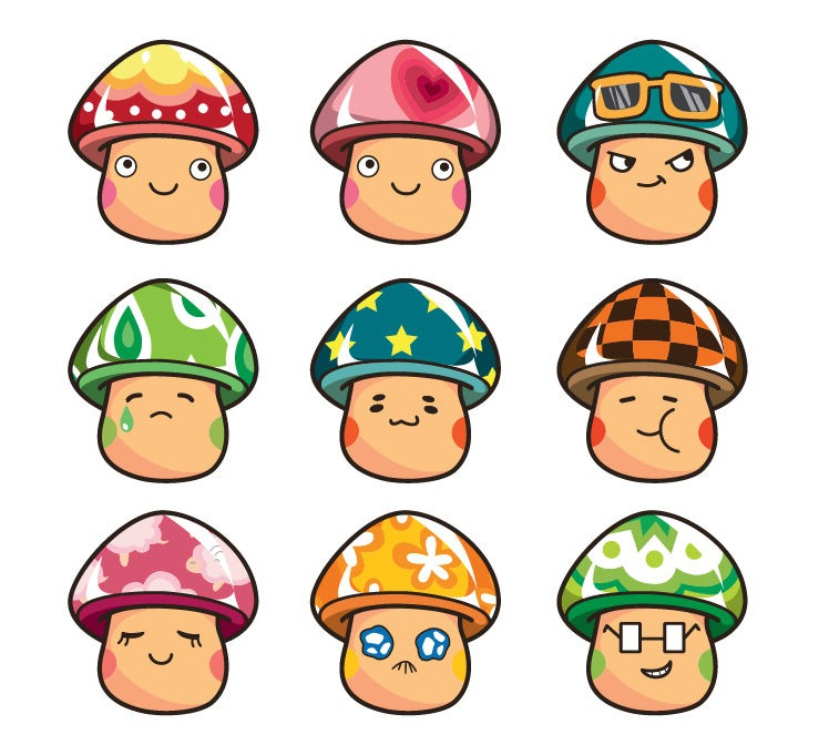 Cartoon Mushroom People