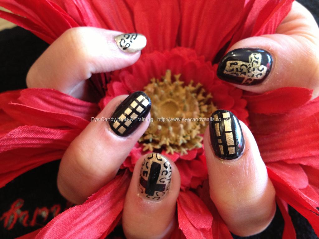 Cross Black and Gold Acrylic Nails