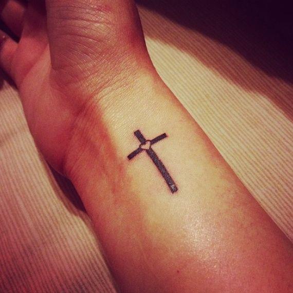 Cross Simple Heart Tattoo