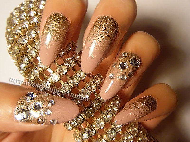 Brown And Gold Nail Art Ideas : Gold nail designs images white and design art