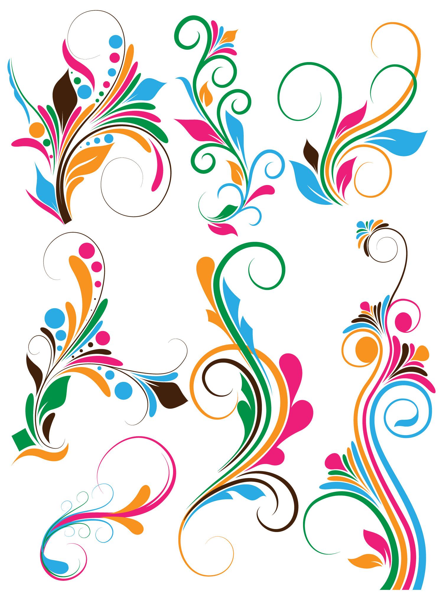 Flowers Clip Art Swirl Vectors