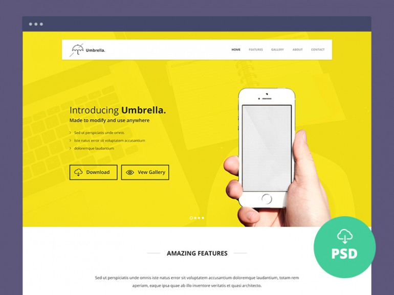 Free Landing Page PSD Template