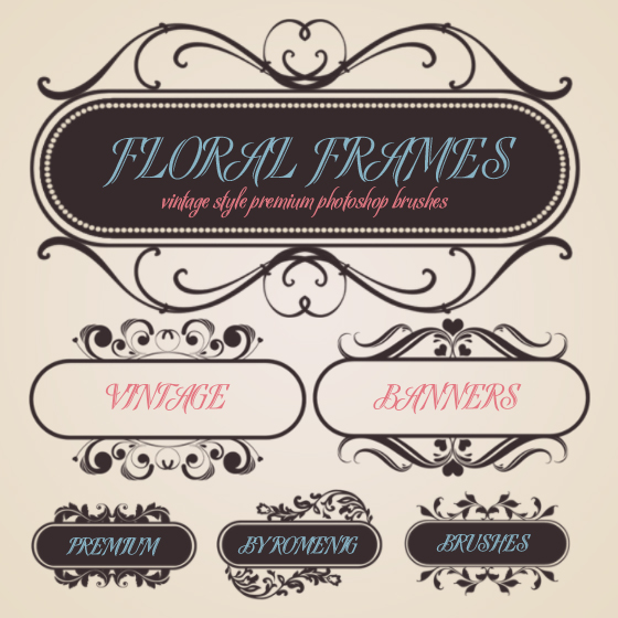 8 Retro Banner Photoshop Brushes Images
