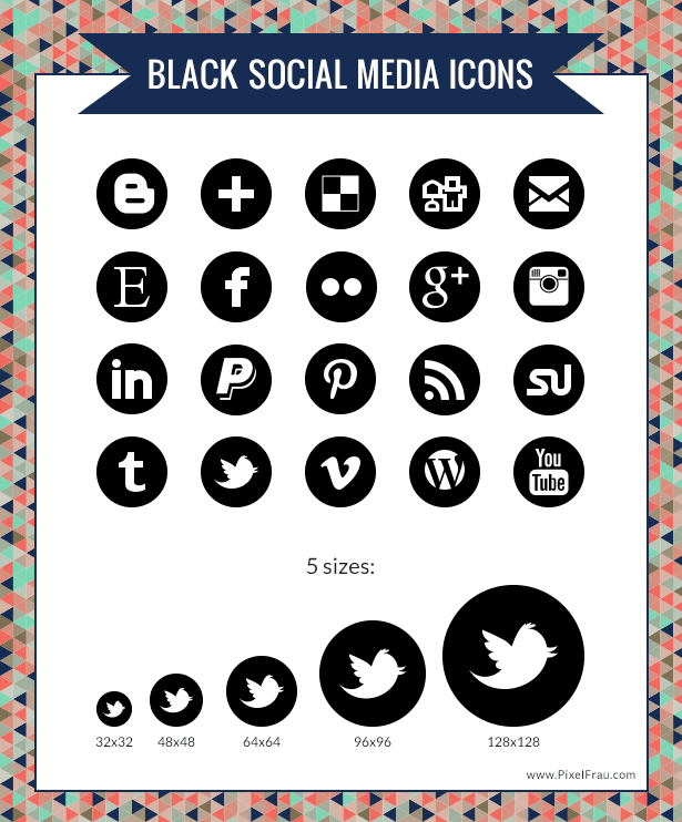 12 Social Media Icons Black Circle Images