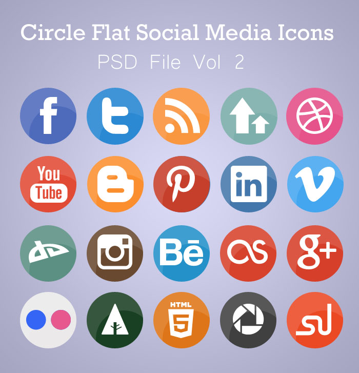 17 Circle Social Media Icon PSD Images