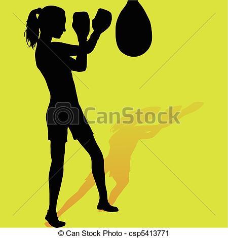 Girl Boxing Silhouette Clip Art