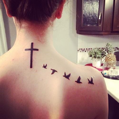 Girl Cross Tattoos with Birds