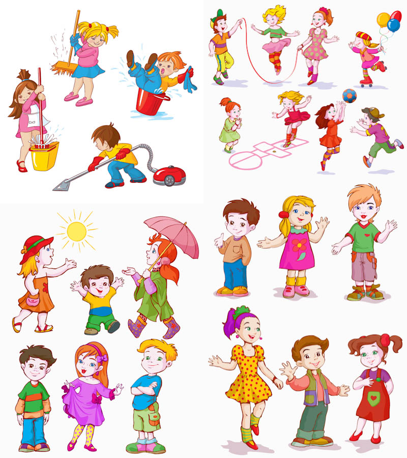 Kids Cartoon Characters Clip Art