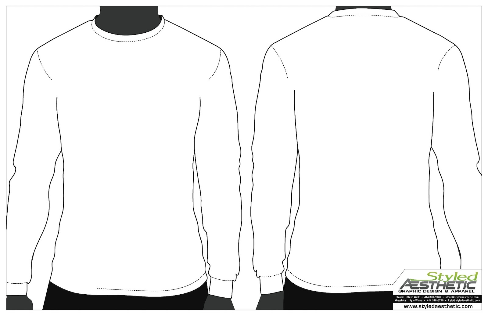 8 Long Sleeve Shirt Template Vector Images