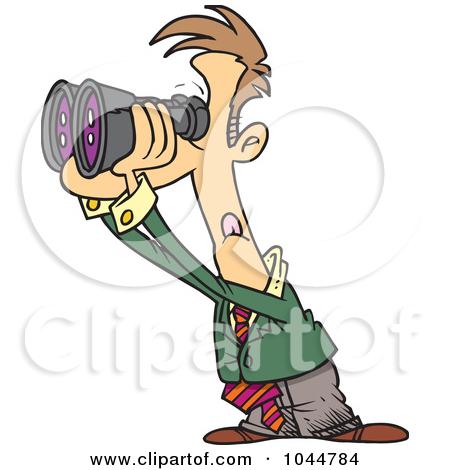 Looking through Binoculars Clip Art