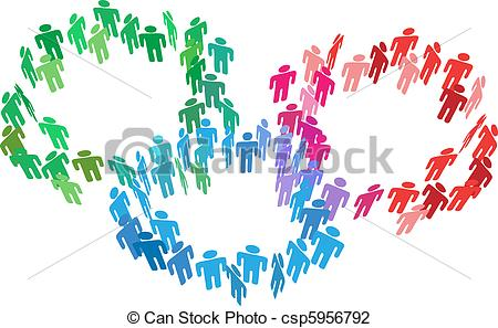 Merging Groups of People Clip Art