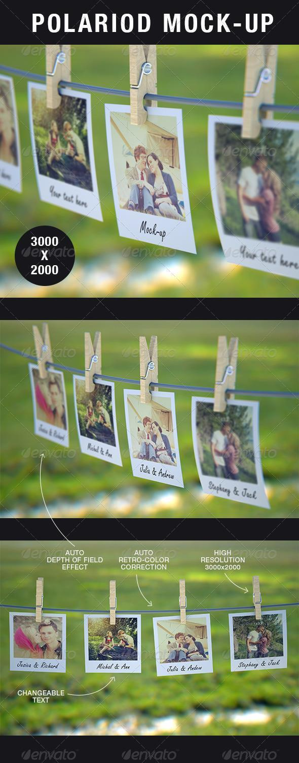 11 Photo Polaroid PSD Mockup Images
