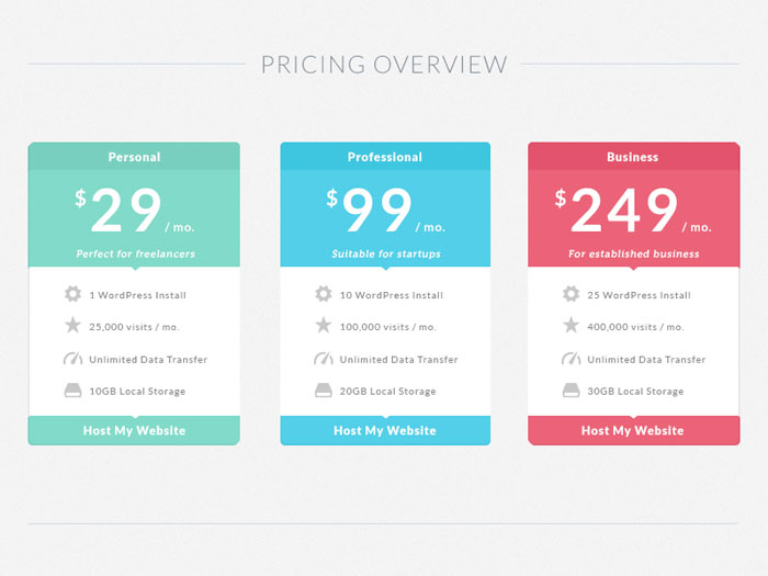 Pricing Table Templates Free