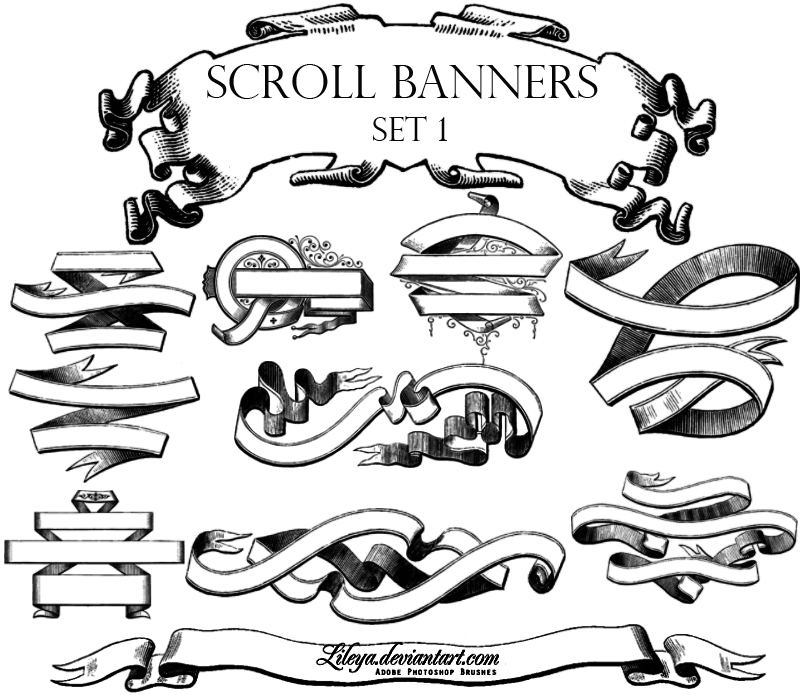 Scroll Banners Photoshop Brush