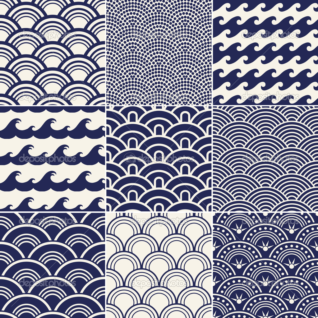 8 Japanese Wave Pattern Vector Images
