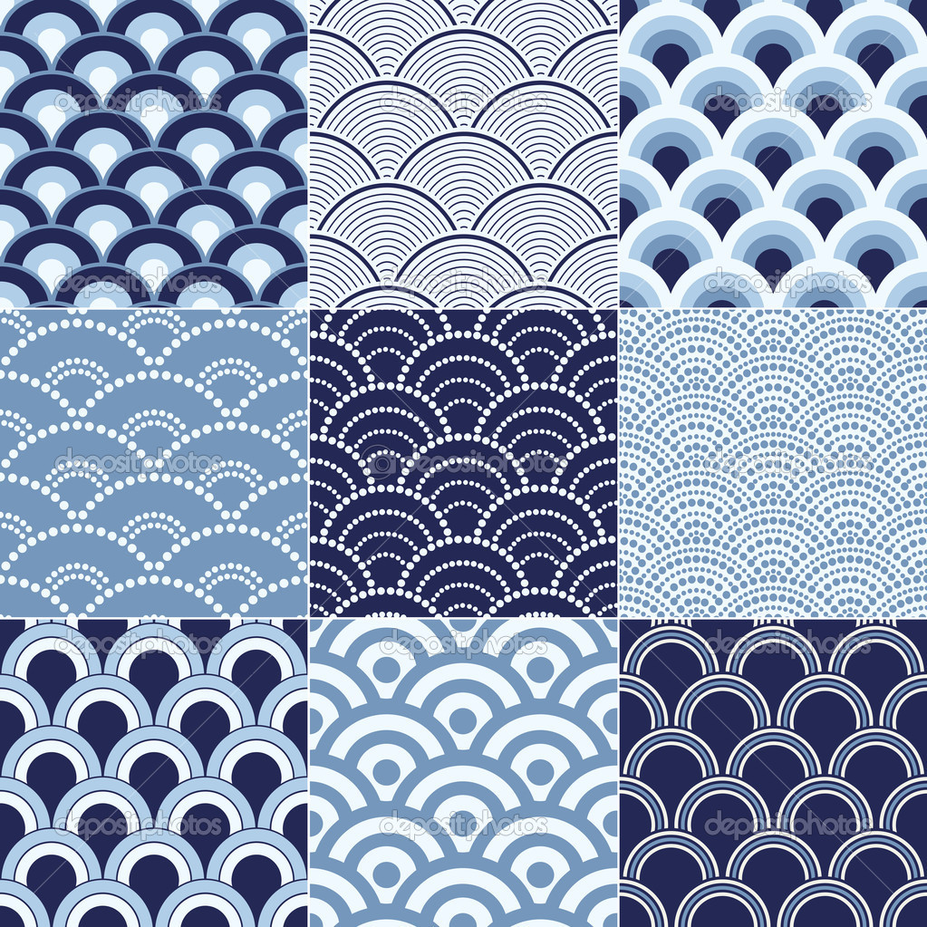 8 Japanese Wave Pattern Vector Images - Seamless Ocean ...