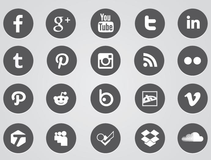 Social Media Icons Circle Vector