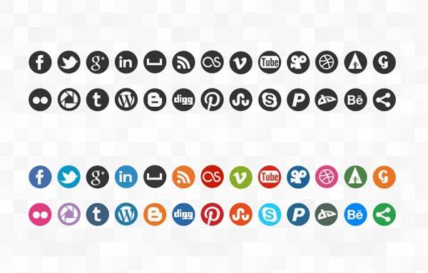 Social Media Icons Round
