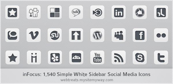 Social Media Icons White