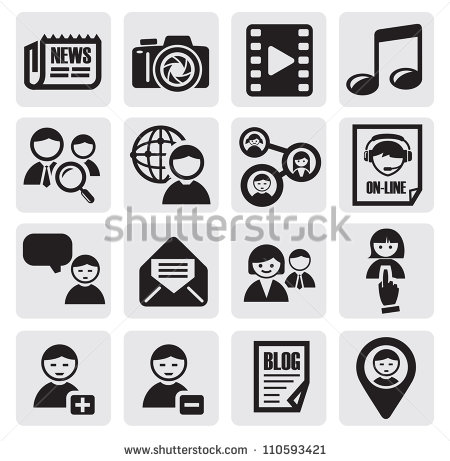 Social Network Icons On Black Background Vector
