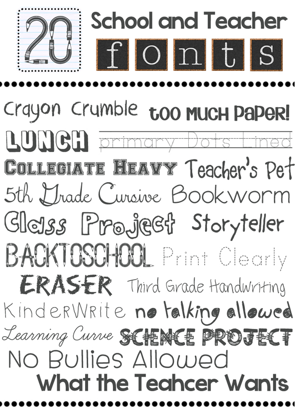 6 Free Teacher Fonts Images