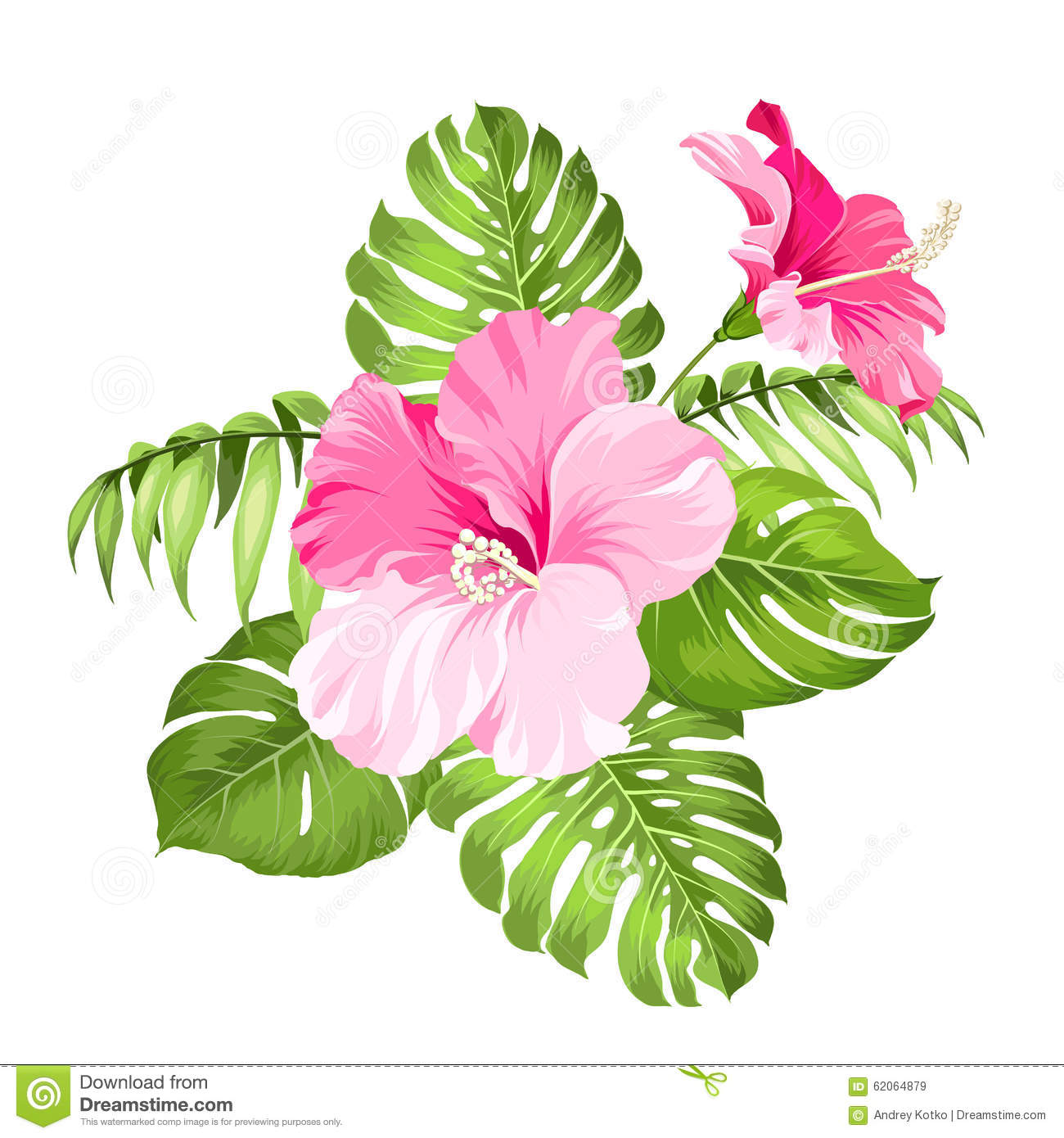 Hawaiian Flower Clip Art Garland