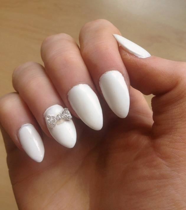 White Pointy Nails with Designs