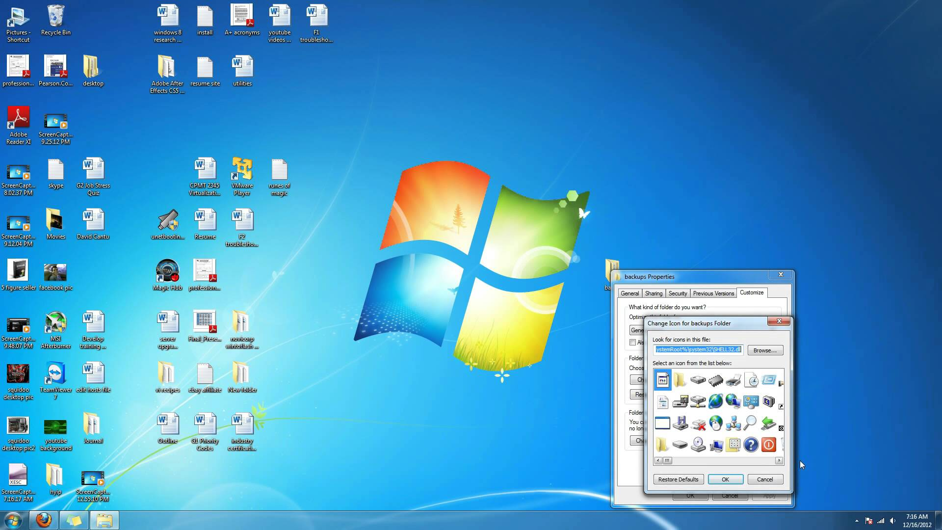 how to hange folder icons in win 7