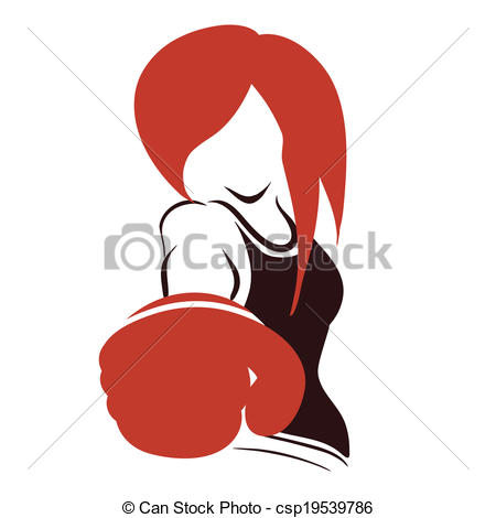 Woman Boxing Clip Art Icon