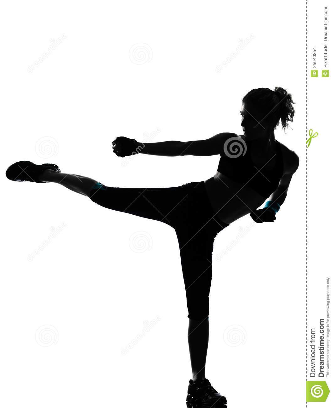 Woman Kickboxing Silhouette