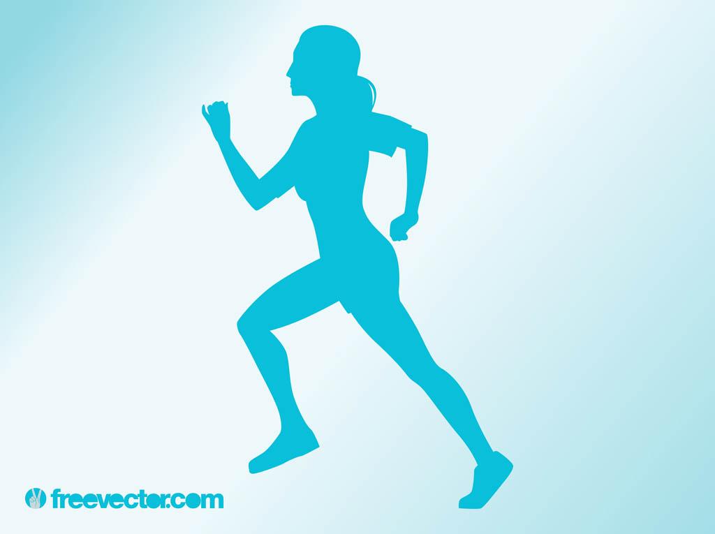 Woman running clip art