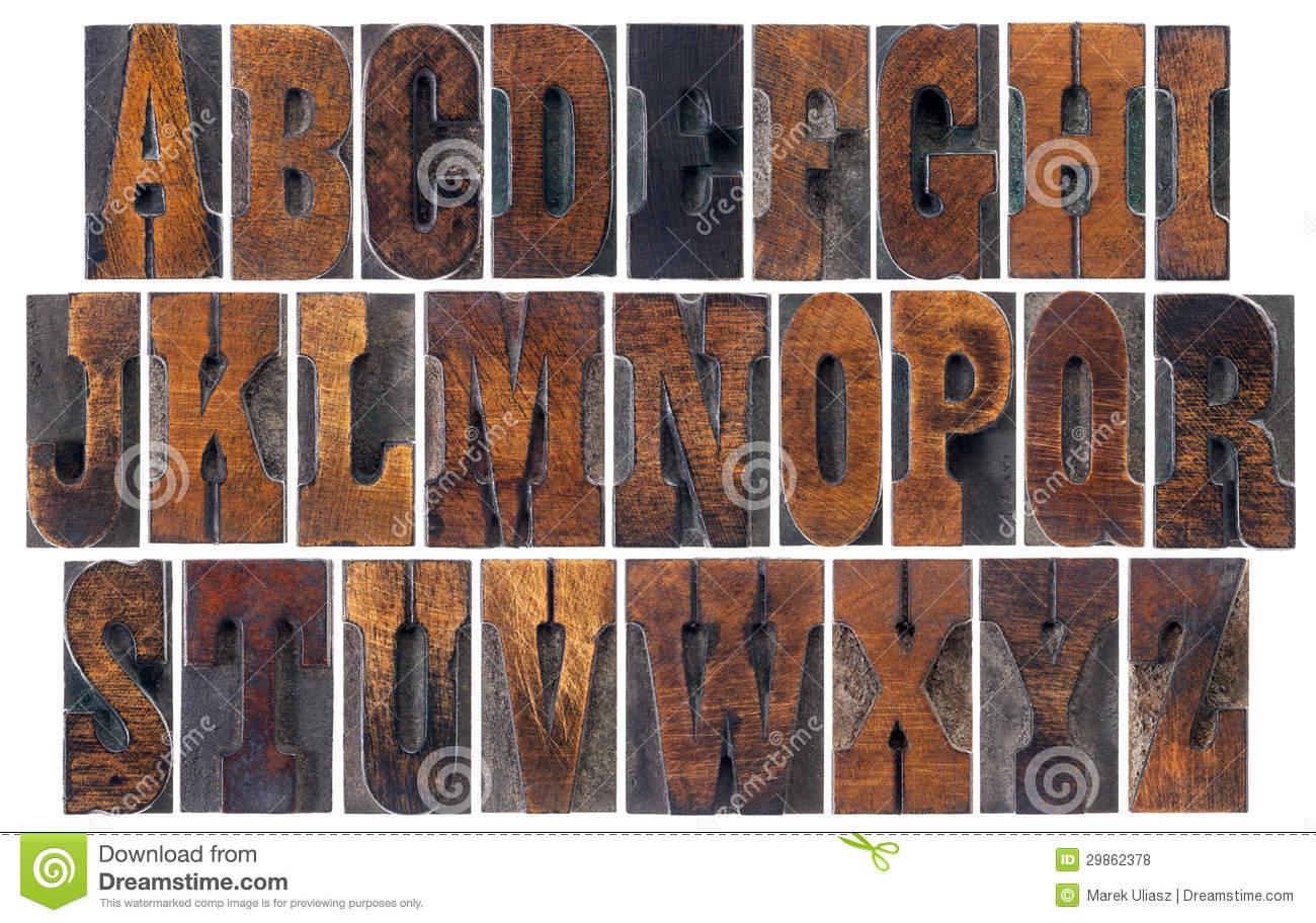 7 Vintage Wood Type Font Images