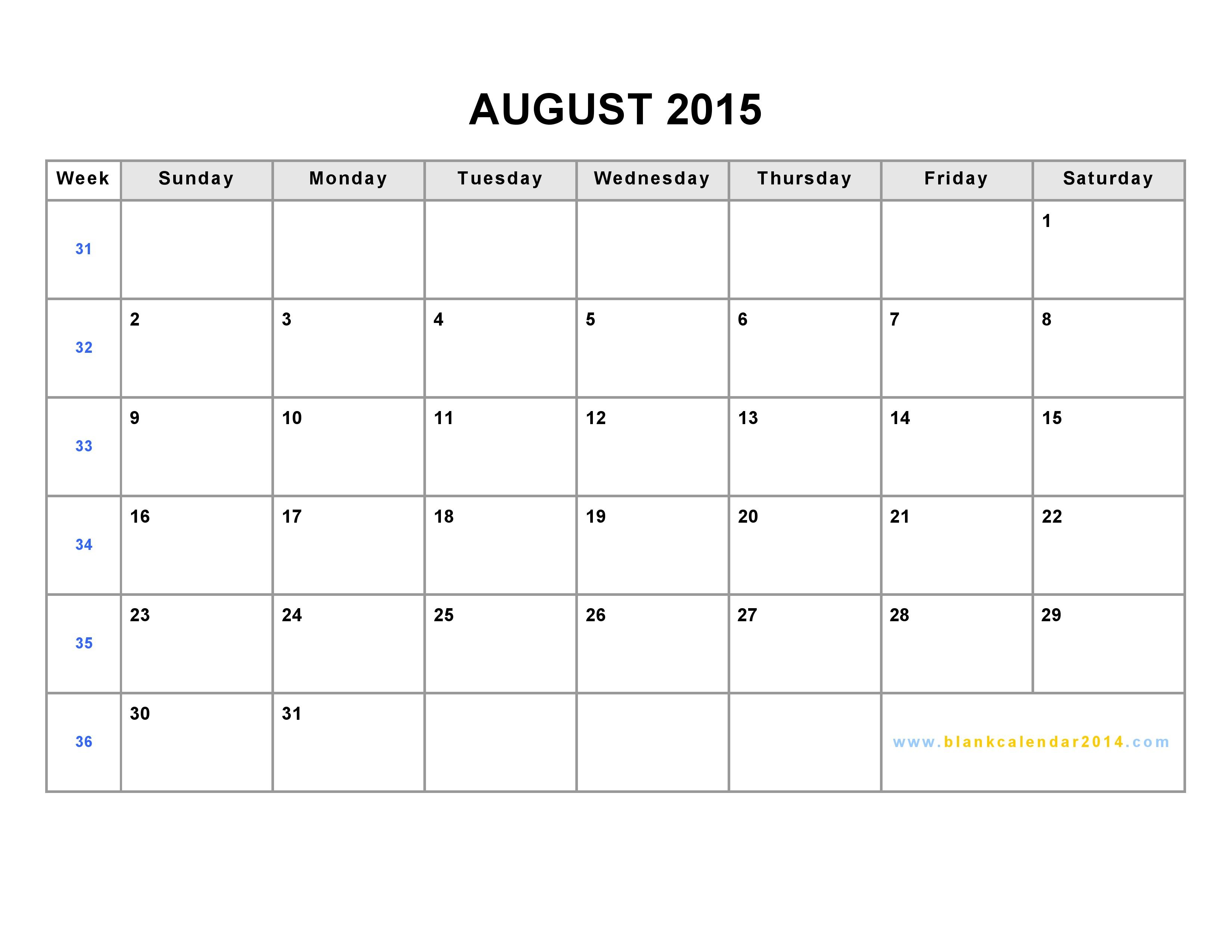 August 2015 Calendar Printable PDF