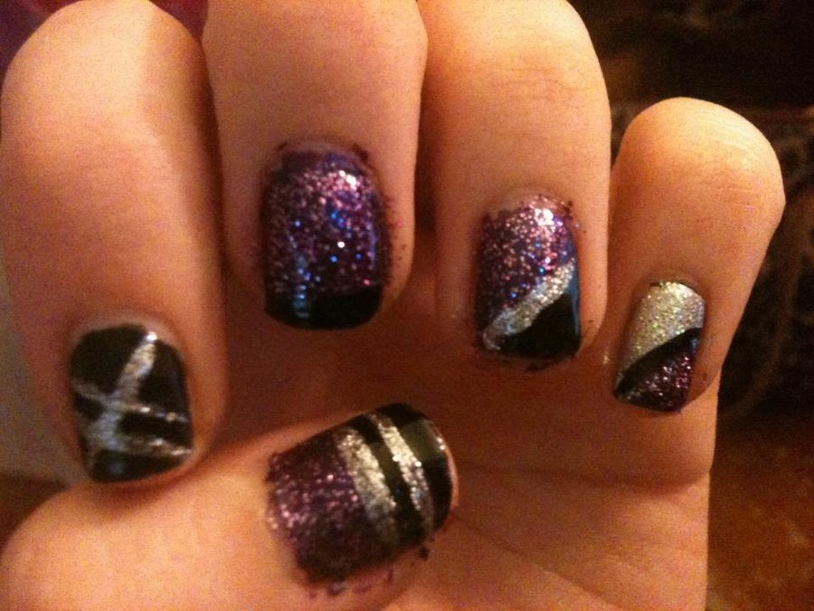 Black Purple and Silver Nails