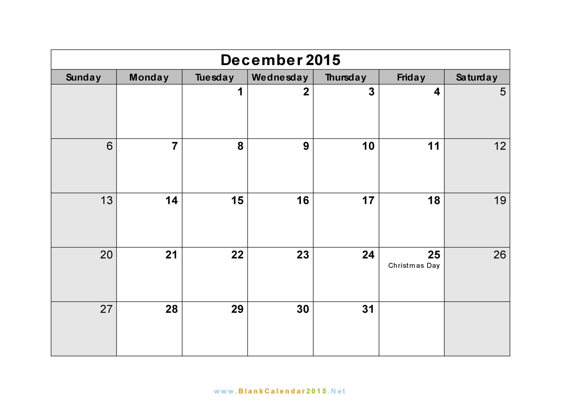 Blank Calendar December 2015