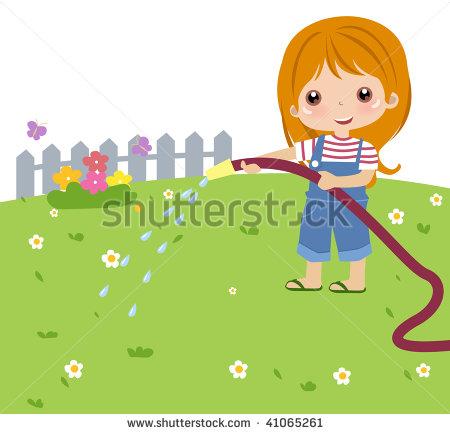 Cartoon Girl Watering Flowers