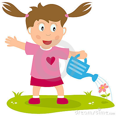 Cartoon Girl with Watering Can