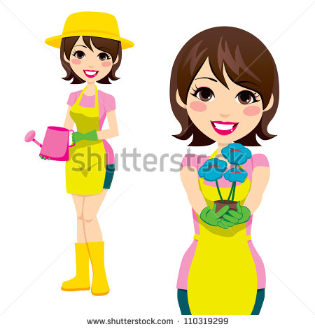 Cartoon Woman Holding Flowers