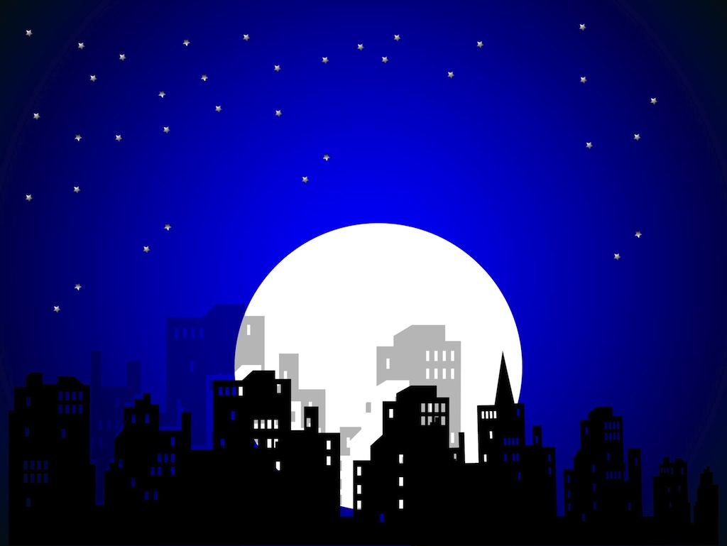 Comic Book City Night Vector