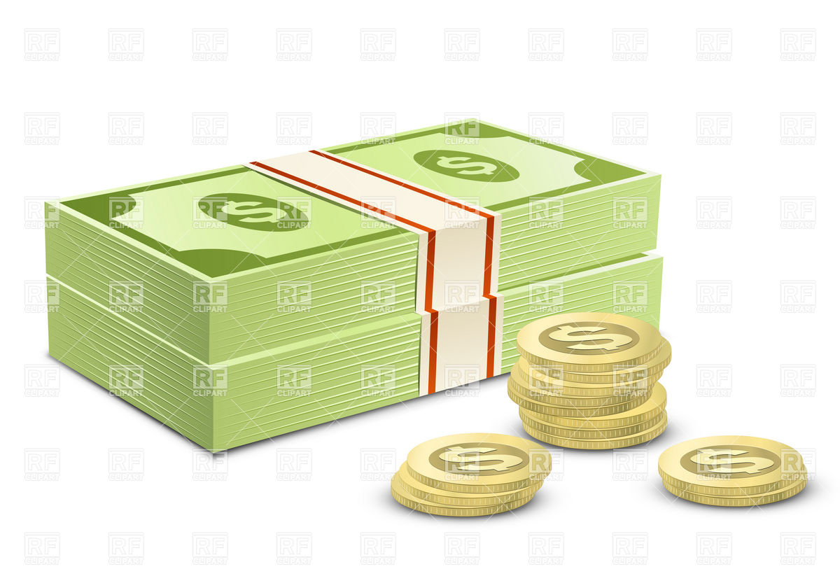 Dollars and Coins Clip Art