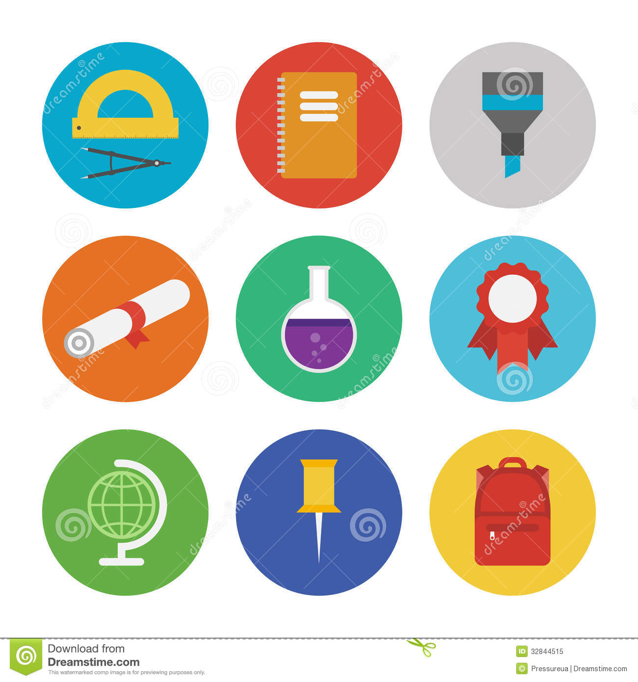 6 Flat Education Icons Black And White Images