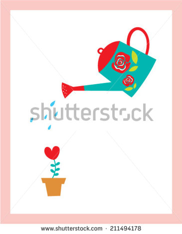 Flowers with Watering Can Vector