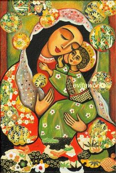 Folk Art Madonna and Child Painting